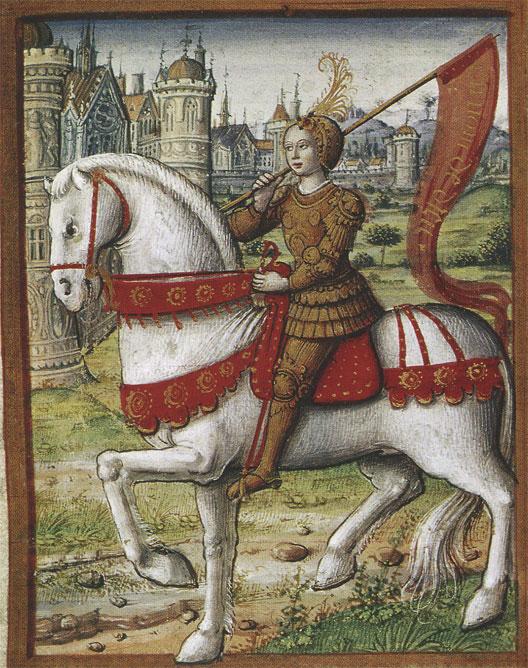 Jeanne d'Arc à cheval, miniature issue de La vie des femmes célèbres, d'Antoine Dufour, environ 1505, musée Dobrée, Nantes.