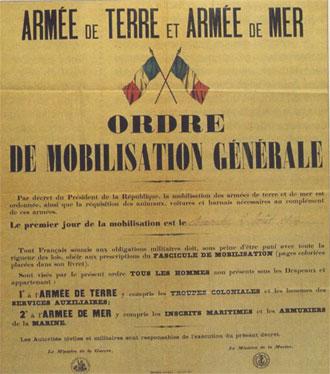 Mobilisation générale le 1er août 1914