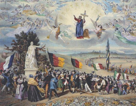 Le printemps des peuples, d'après une lithographie romantique de 1848