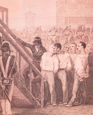La mort des quatre sergents de la Rochelle (gravure d'époque)