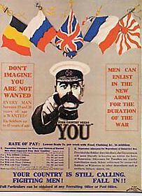 affiche de recrutement britannique à l'effigie du maréchal Kitchener (1916)