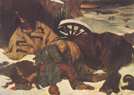 Episode de la retraite de Russie, par Joseph-Ferdinand Boissard de Boisdenier (1835, musée des Beaux-Arts de Rouen)