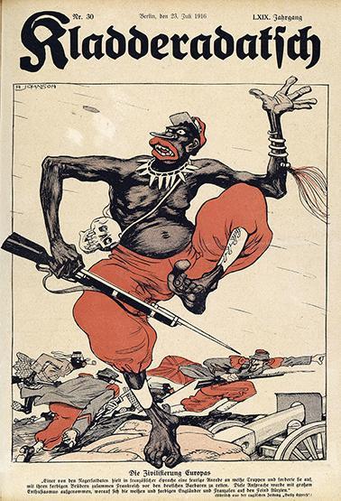 Die Zivilisierung Europas, Caricature d'un tirailleur sénégalais tirée du journal  Kladderadatsch, n° 30, paru le 23 juillet 1916