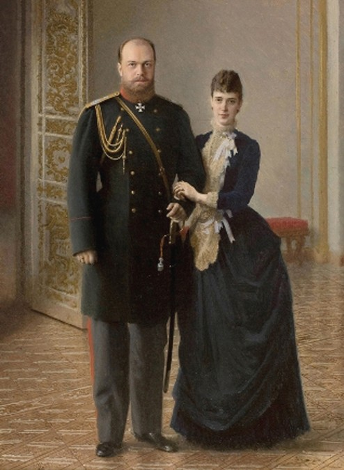 Portrait du tsar Alexandre III et de l'impératrice Maria Féodorovna, vers 1885, Ivan Nikolaïévitch Kramskoï, Gattchina, Palais de Marbre, Saint-Pétersbourg.