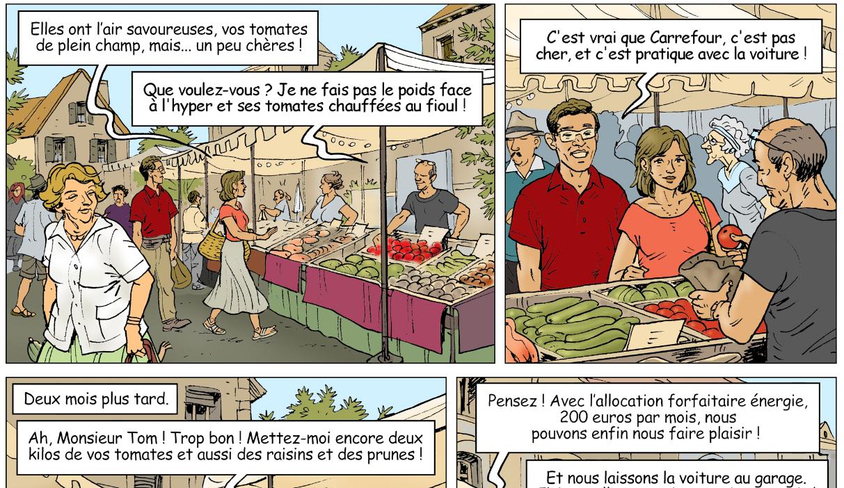 Gagner plus et sauver le climat ! (graphisme : Dominique Rousseau, texte : André Larané
