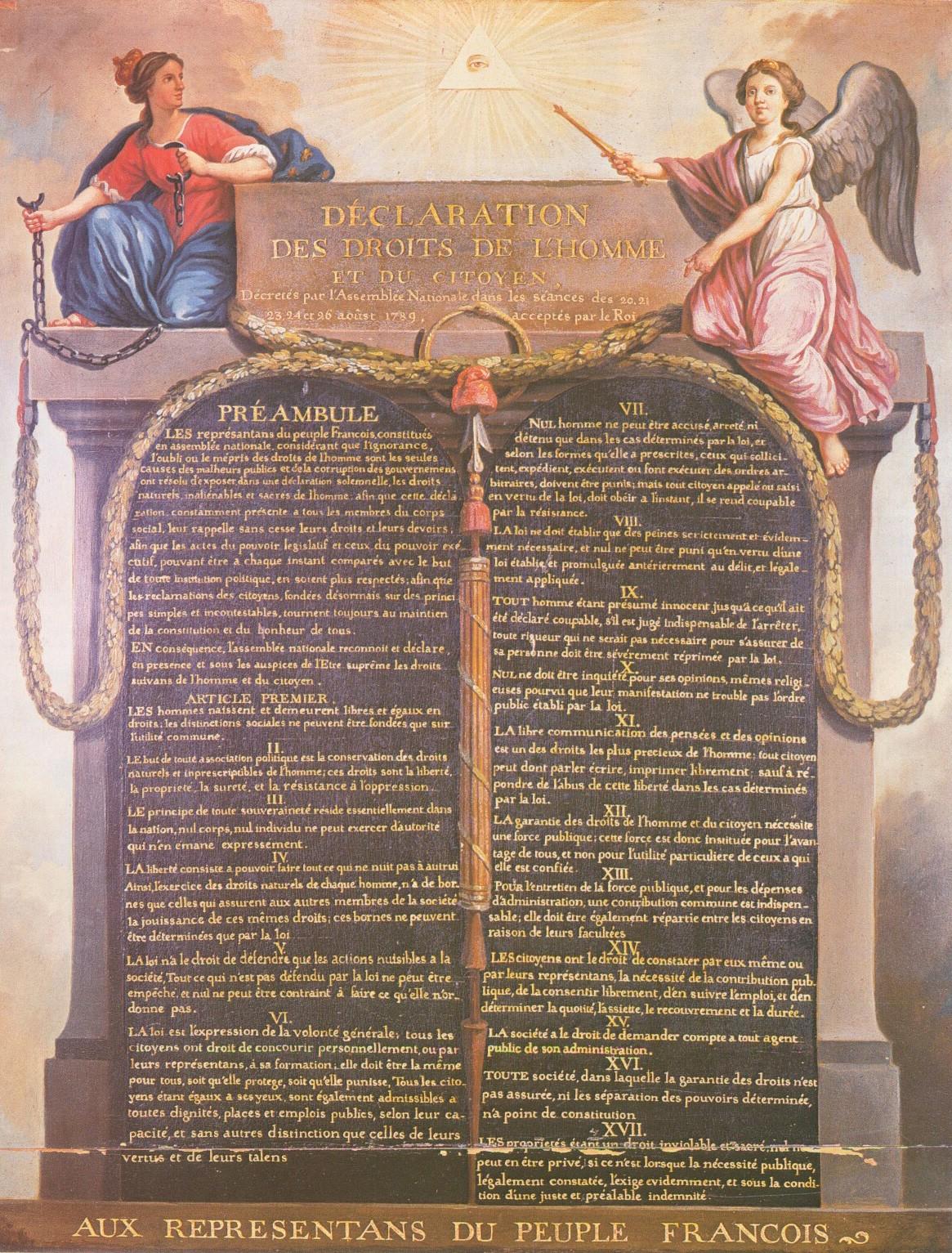 Déclaration des Droits de l'Homme et du Citoyen (panneau sur bois du XVIIIe siècle, musée Carnavalet, Paris