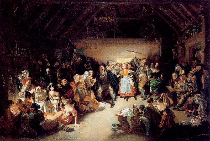 Snap Apple Night (1833) par Daniel Maclise. De jeunes garçons jouent au « Snap Apple » en premier plan de cette scène d'une soirée d'Halloween en Irlande à Blarney, comté de Cork en 1832.