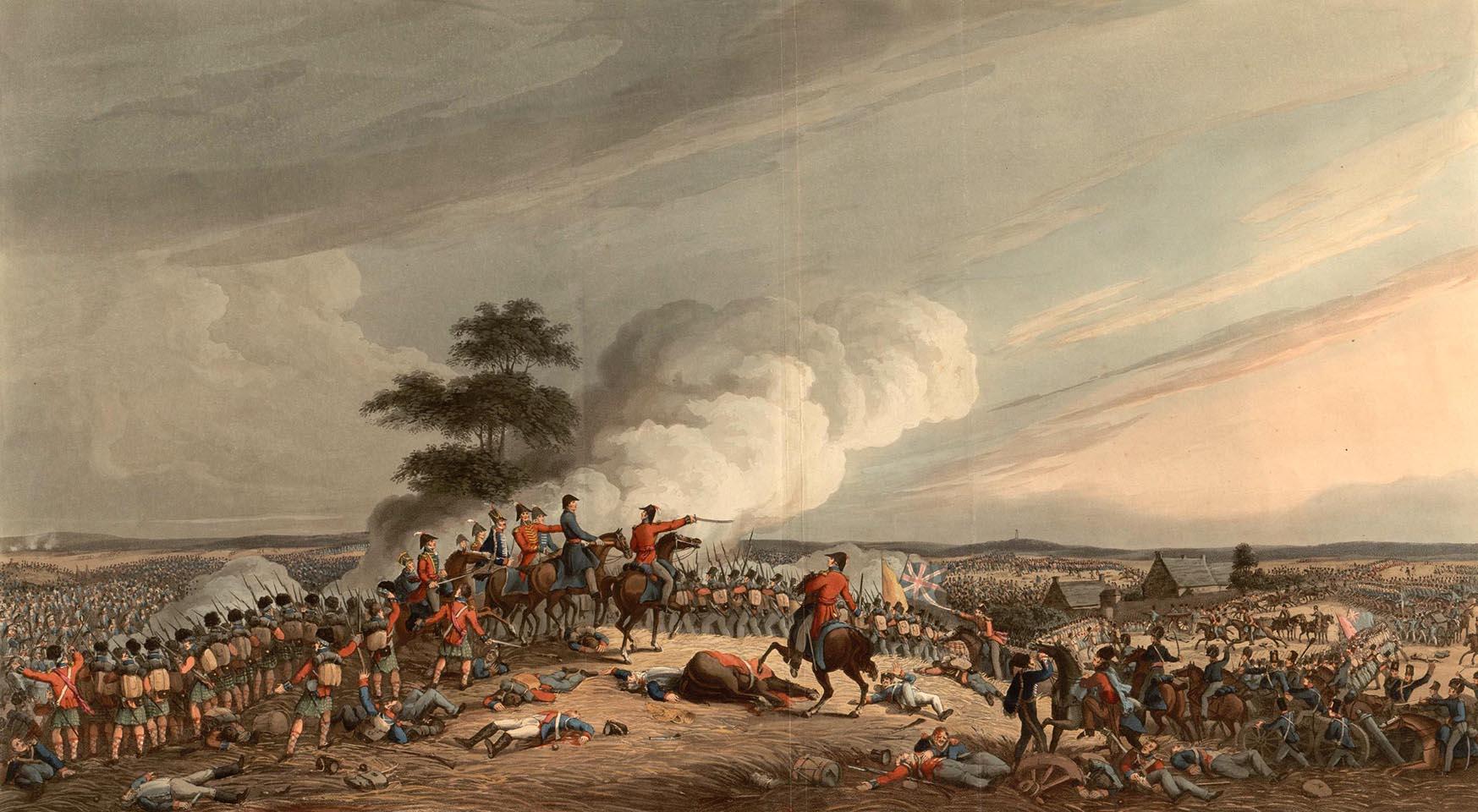 La bataille de Waterloo vue de Mont-Saint-Jean (gravure anglaise)
