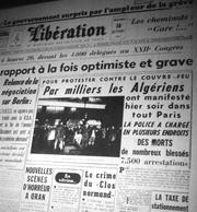 La Une de Libération le lendemain de la manifestation du FLN à Paris.