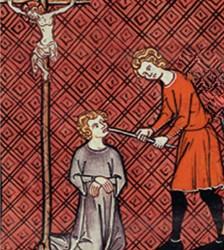 Saint Louis fait arracher la langue à un blasphémateur. Enluminure française (v. 1335 - 1340), Grandes Chroniques de France.
