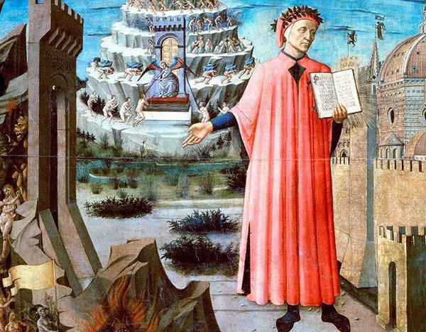 Portrait de Dante (1465), Domenico di Michelino, cathédrale Santa Maria del Fiore, Florence.