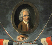 Gravure révolutionnaire à la gloire de Jean-Jacques Rousseau.