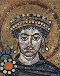 Détail de la mosaïque représentant Justinien dans la basilique Saint-Vital à Ravenne (Italie).