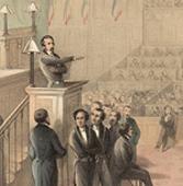 Élu président de la République, Louis-Napoléon Bonaparte prête serment à la Constitution devant l'Assemblée, BnF.