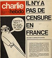 Charlie Hebdo n° 1, page une, dessin de Gébé, 23 novembre 1970, Paris, BnF.