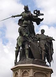 Le monument de Formigny (Calvados), rappelant la victoire de 1450 sur les Anglais. (© SWG)
