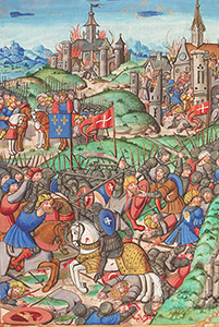 Charles Martel combattant les Sarrazins près de Poitiers, Grandes Chroniques de France, Paris, BnF.