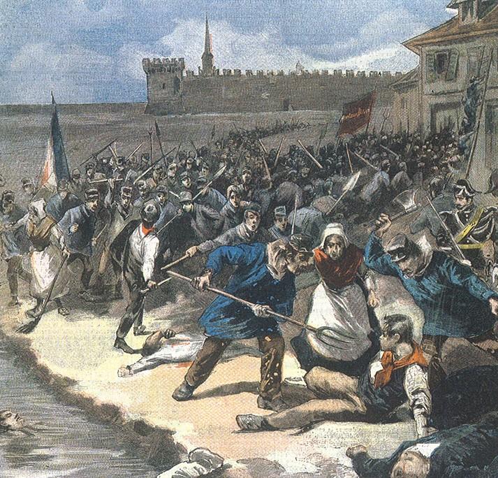 Le massacre des saliniers italiens d'Aigues-Mortes le 17 août 1893 (gravure du Petit Journal)