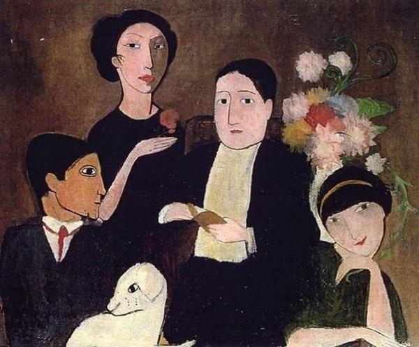 Marie Laurencin, Apollinaire et ses amis, 1908 et 1909, Paris, Centre Pompidou. De gauche à droite, Picasso, Marie-Laurencin, Apollinaire et Fernande Olivier.