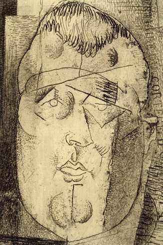 Louis Marcoussis, Portrait de Guillaume Apollinaire, vers 1912, Paris, BnF. En agrandissement, Giorgio de Chirico, Portrait [prémonitoire] de Guillaume Apollinaire, 1914, Paris, Centre Pompidou.