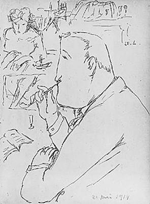 Guillaume Apollinaire au café de Flore, 1914, I.M.L., collection particulière, éd. Larousse. En agrandissement, Portrait d'Apollinaire par Pablo Picasso. Frontispice de la 1ère édition d'Alcools, Mercure de France, 1913, Paris, musée Picasso.