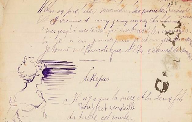Guillaume Apollinaire, page du Cahier de Stavelot, 1899, Paris, BnF.