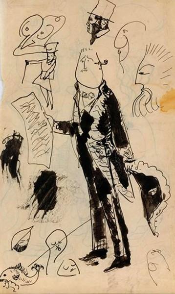 Pablo Picasso, Portrait-charge de Guillaume Apollinaire en académicien, 1905, Paris, musée national Picasso. En agrandissement, Pablo Picasso, carte postale: