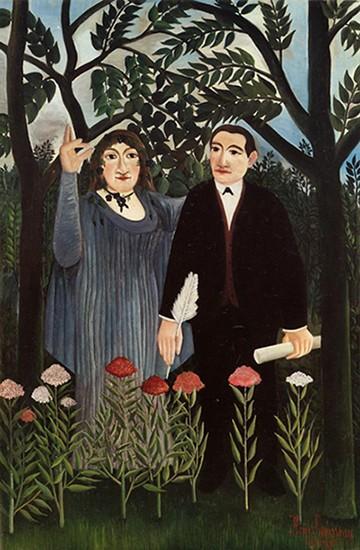 Douanier Rousseau, La Muse inspirant le poète, 1909, Bâle, musée d'Art. En agrandissement, le couple Laurencin-Apollinaire en Normandie (1915).