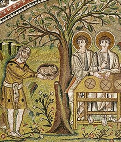 Abraham devant l'arbre de Mambré, mosaïque de la basilique San Vitale, Ve siècle ap. J.-C., Ravenne.