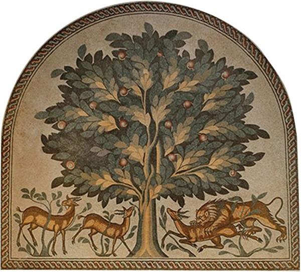 Arbre de vie, mosaïque de Kirbat al-Majfar (Palestine), VIIIe siècle ap. J.-C.