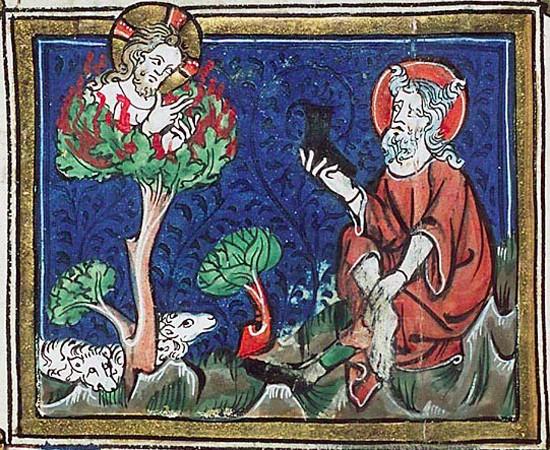 Moïse et le buisson ardent, illustration de la Bible d'Ultrecht de Jacob van Maerlant, XIIIe siècle, La Hague, bibliothèque Koninklijke.