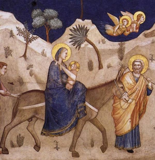 Giotto di Bondone, La Fuite en Égypte, vers 1310-1330, Assise, Basilique Saint-François d'Assise.