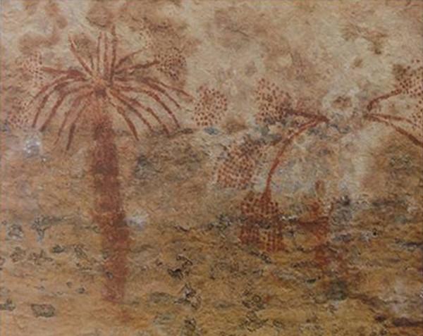 Ralan-Rala (Tassili n'Ajjer, Algérie), représentation de palmiers-dattiers.