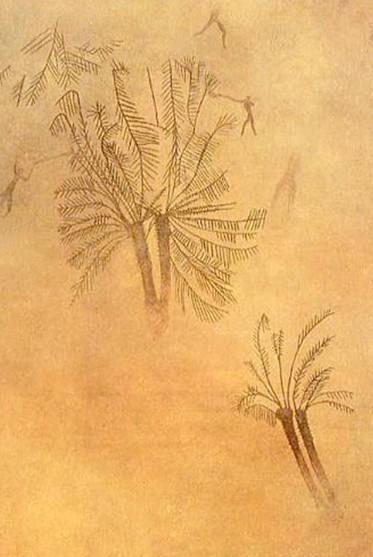 Oued Djerat (Tassili n'Ajjer, Algérie), peinture de palmier et char, période caballine (3 500 à 2 000 av. J.-C.).