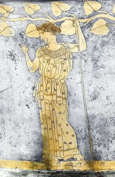Athena, détail d'un kantharos en argent, env.440-435 av. J.-C., partie de la collection Vassil Bojkov, Sofia, Bulgarie.