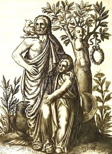 Zeus et les chênes de Dodone, d'après Historia Deorum Fatidicorum,1675, Zeus et les chênes de Dodone, d'après Historia Deorum Fatidicorum,1675, Bibliothèque nationale d'Écosse.