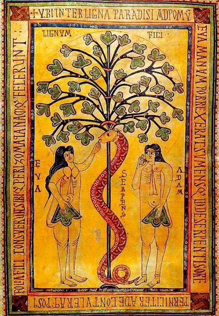 « Adam et Ève », manuscrit enluminé du Xe siècle, Codex Aemilianensis, Bibliothèque de l'Escurial, Madrid.