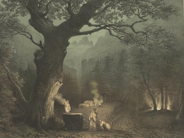 Forêt des Druides, lithographie, Villeneuve. Paris, bibliothèque de l'Opéra. Dessin composé pour l'opéra « Norma », première représentation à Milan 1831