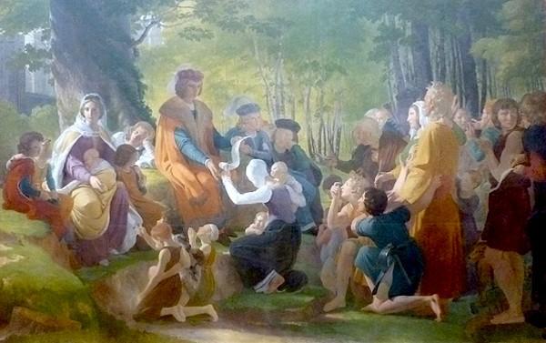 Saint Louis rendant la justice sous le chêne de Vincennes, Pierre-Narcisse Guérin, 1816, musée des beaux-arts d'Angers. L'agrandissement présente le tableau de Georges Rouget, 1826, château de Versailles.