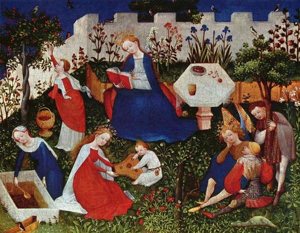 Le Jardin de Paradis, v. 1410-20, Maître du Haut Rhin, Städelsches Kunstinstitut und Städtische Galerie, Francfort-sur-le-Main, Allemagne.