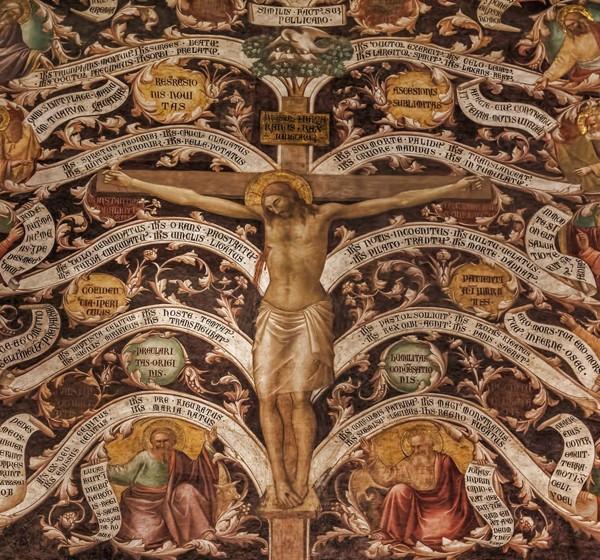 L'Arbre de Vie, 1350, fresque de Taddeo Gaddi dans le réfectoire de l'église de Santa Croce à Florence.