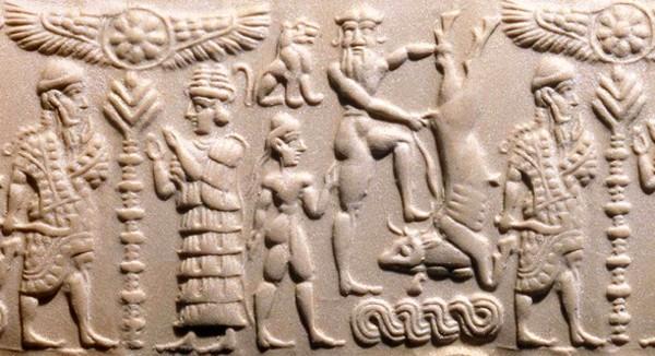 Sceau-cylindre « Gilgamesh domptant un taureau » sur lequel est représenté l'Arbre-pilier, Syrie, XVIIe siècle av. J.-C., BnF, Paris.