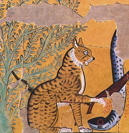 Représentation d'Apophis et de l'arbre Ishet, Tombe de Sennedjem, fac-similé de Charles K. Wilkinson, 1920, New-York, MetMuseum.