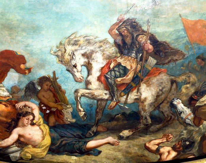 Attila suivi de ses hordes barbares foule aux pieds l'Italie et les Arts (1838-1847, Eugène Delacroix,  plafond du Palais Bourbon, Paris)