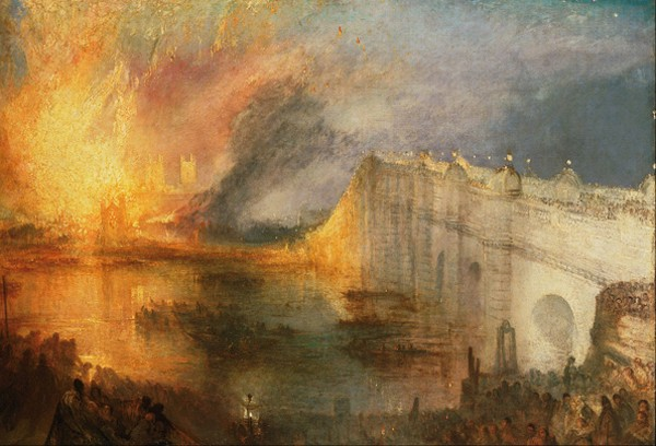 L'incendie des chambres des lords et des communes, 16 octobre 1834, Joseph Mallord William Turner, Philadelphia Museum of Art.