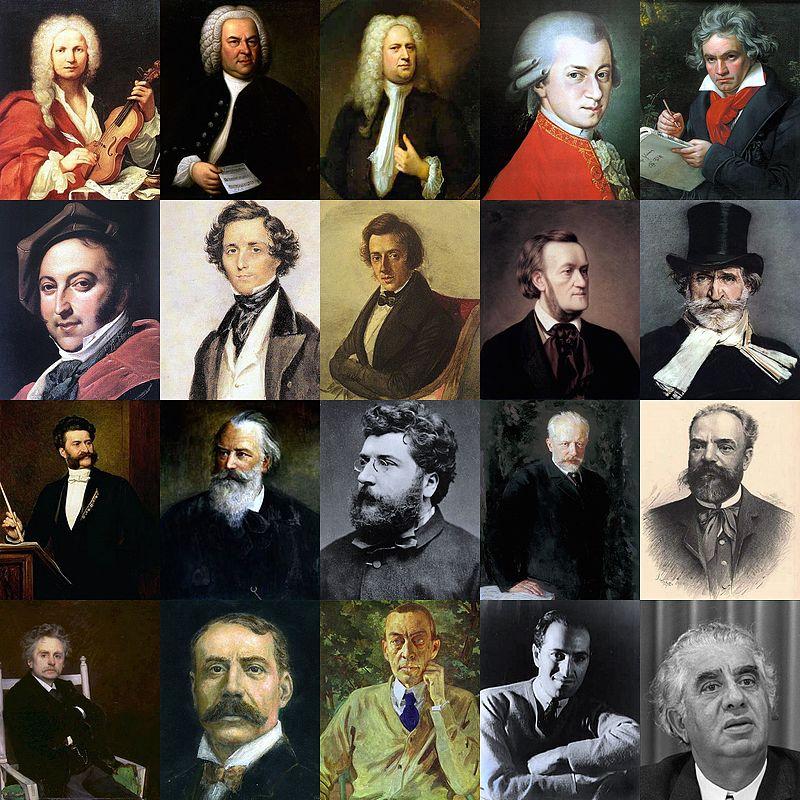 Montage de quelques grands compositeurs de musique classique.