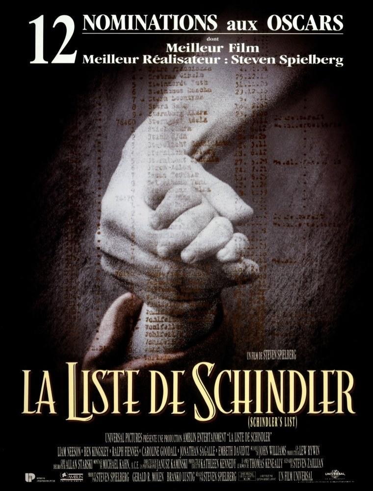 Affiche du film La liste de Schindler de Steven Spielberg (1993). En agrandissement : l'acteur Liam Neeson dans le rôle de Oskar Schindler.