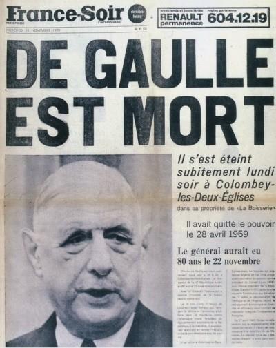 De Gaulle est mort (France Soir).