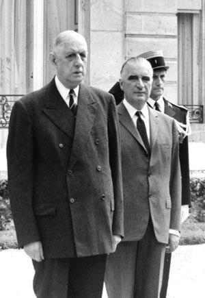 De Gaulle et Pompidou dans les années 1960.