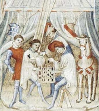 Ο Αχιλλέας στη σκηνή του, Αρχαία ιστορία έως τον Καίσαρα, 14ος ή 15ος αιώνας, Παρίσι, BnF.  Οι μεσαιωνικοί συγγραφείς κάλεσαν διάσημα ονόματα από την αρχαιότητα για να εγγυηθούν στους ευγενέστερους αγώνες το κύρος και τη νομιμότητα της μεγάλης αρχαιότητας.  Διεύρυνση, Αχιλλέας στη σκηνή του, Παρίσι, BnF.